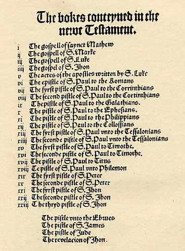 List of New Testament Books in the Cologne Fragment.